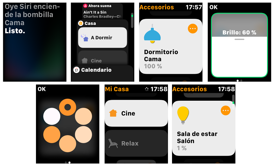 Capturas del uso de HomeKit con el Apple Watch